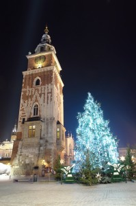 Kraków by night at Christmas time